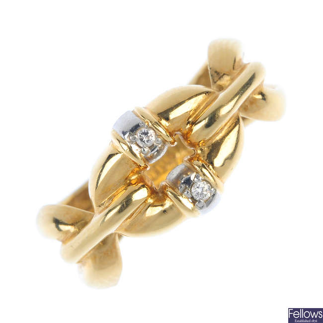 A diamond accent dress ring.