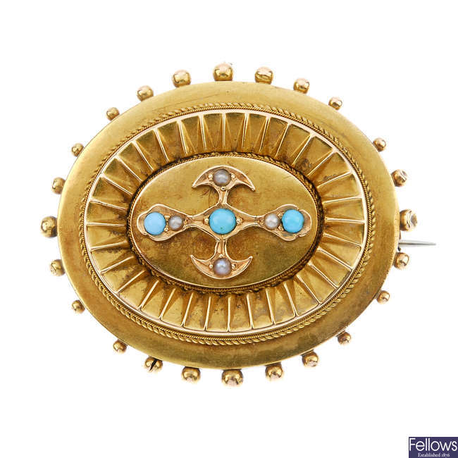 A late 19th century 18ct gold split pearl and turquoise memorial brooch.