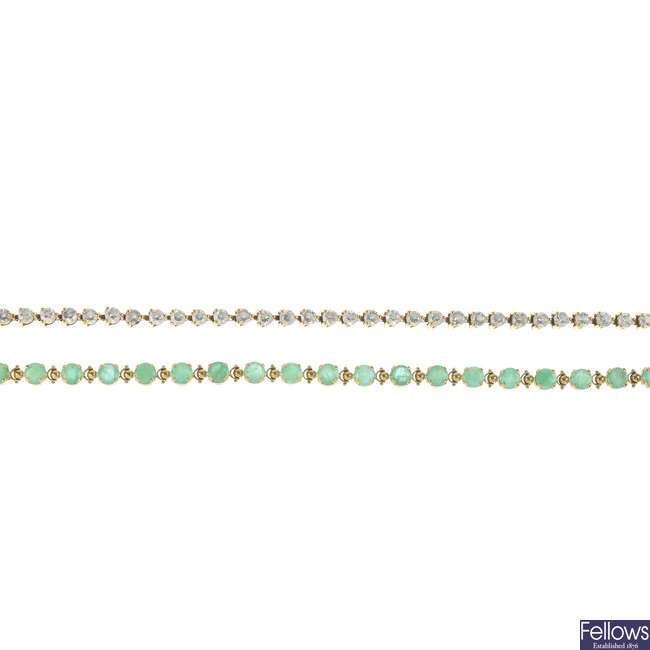 Two gem-set bracelets.