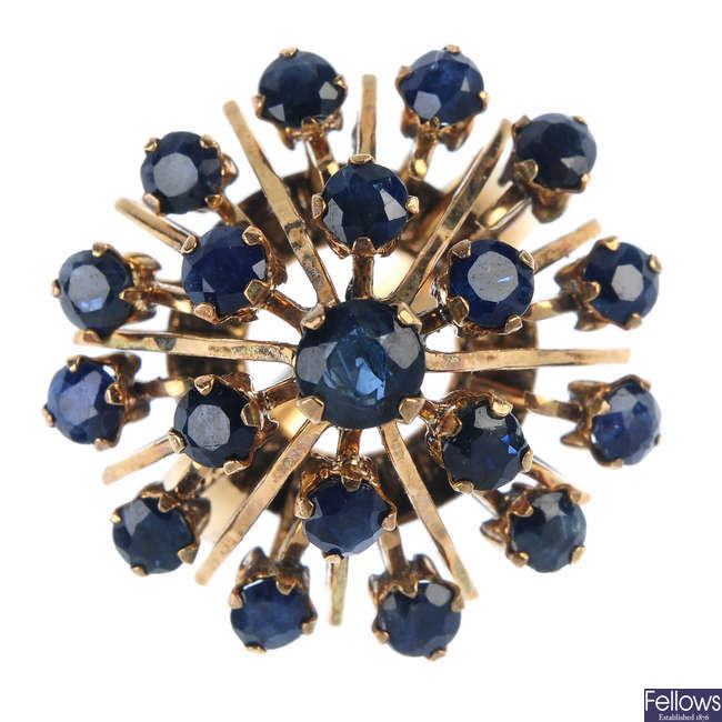 A sapphire cluster ring.