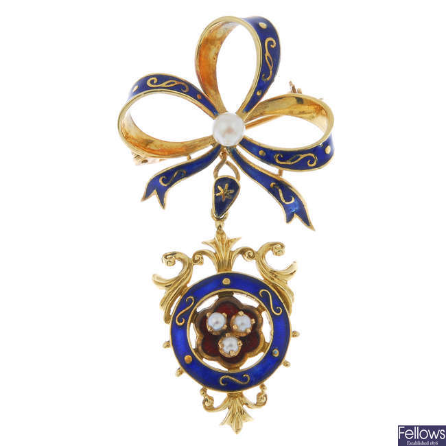 A cultured pearl and enamel brooch.
