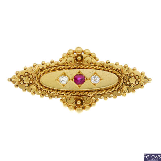 A late Victorian 15ct gold ruby and diamond cannetille brooch.