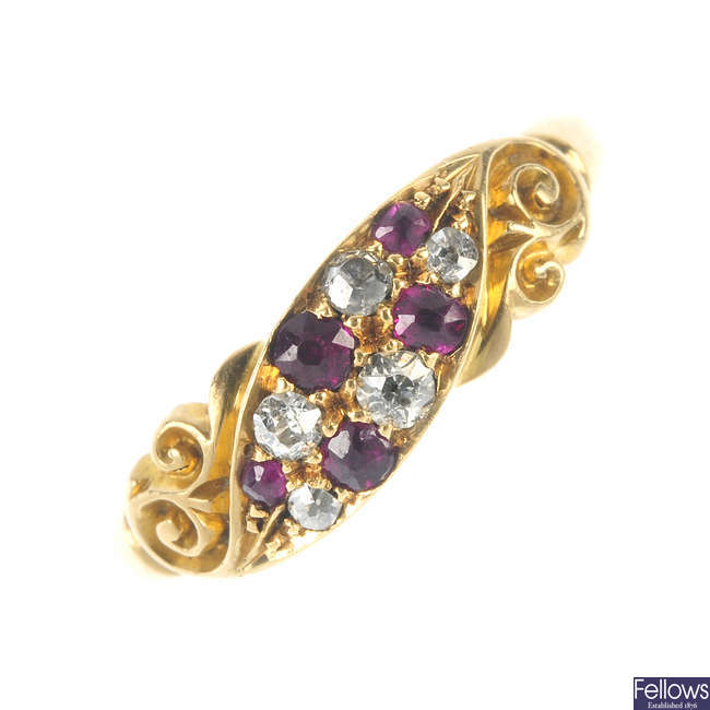 A late Victorian 18ct gold ruby and diamond dress ring.