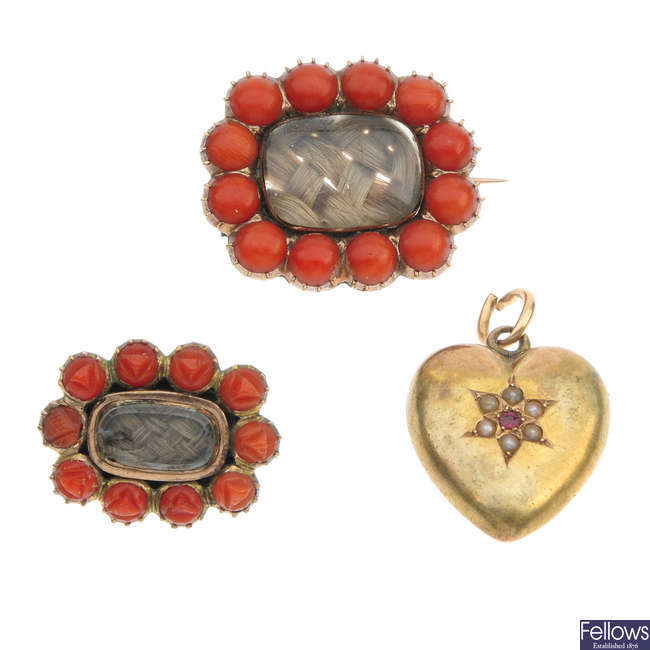 Two 19th century gem-set memorial brooches and a memorial locket.