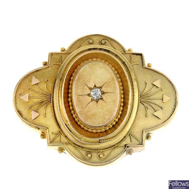 A late 19th century 15ct gold diamond memorial brooch.