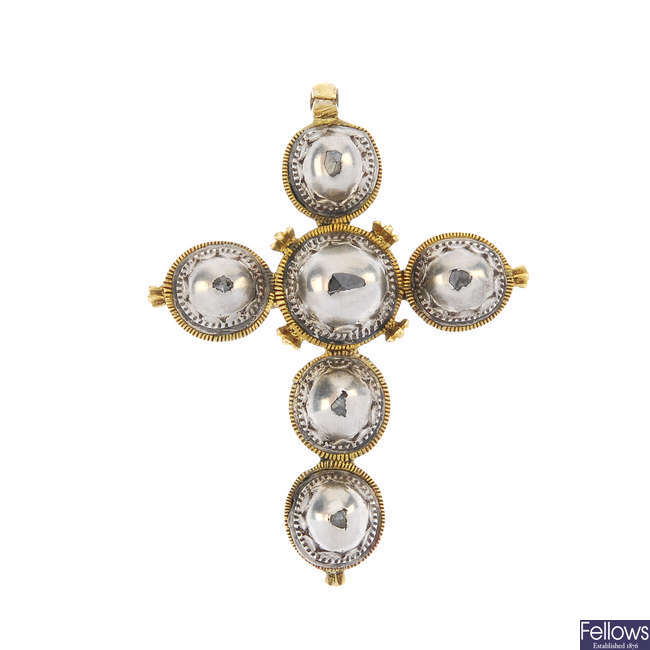 A mid 19th century silver and gold diamond cross pendant.