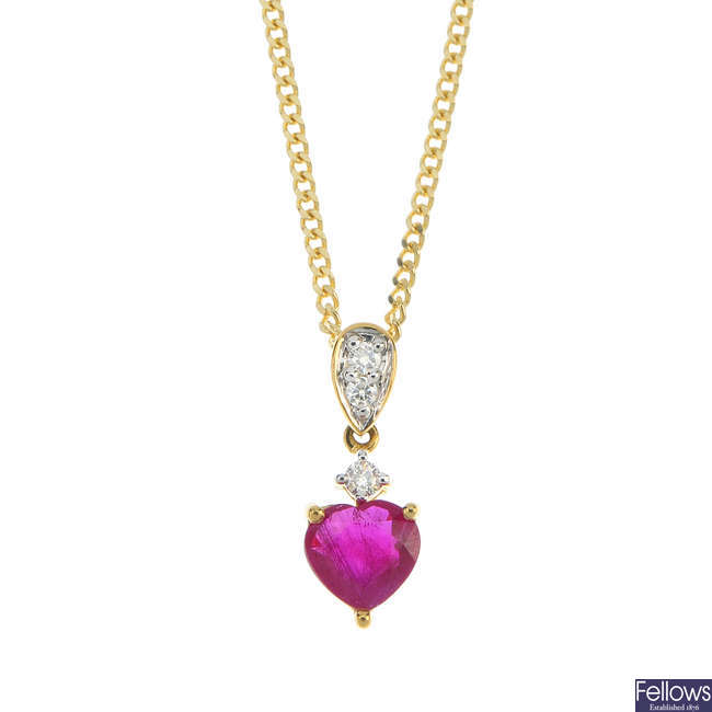 An 18ct gold ruby and diamond pendant.