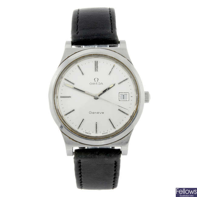 OMEGA - a gentleman's stainless steel Gen�ve wrist watch.