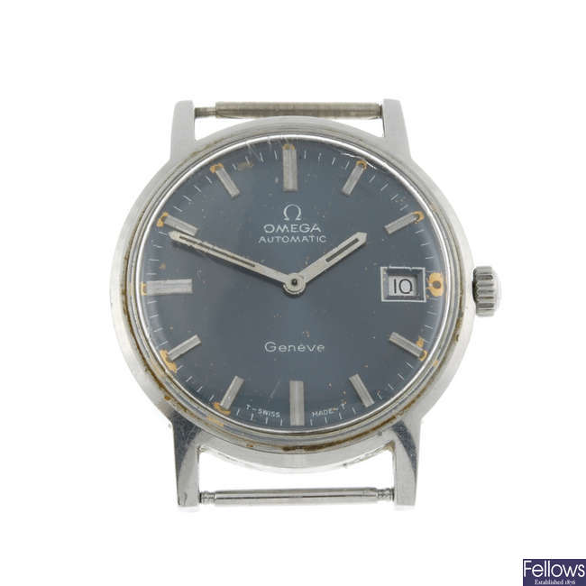 OMEGA - a gentleman's stainless steel Gen�ve watch head.