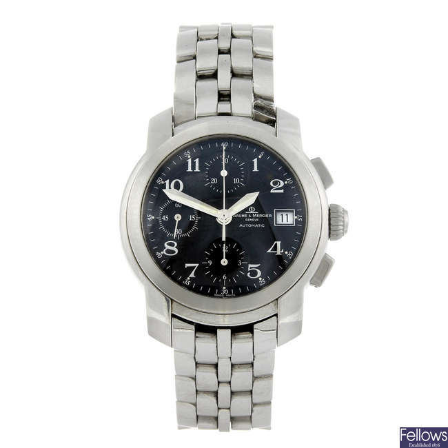 BAUME & MERCIER - a gentleman's stainless steel Capeland chronograph bracelet watch.