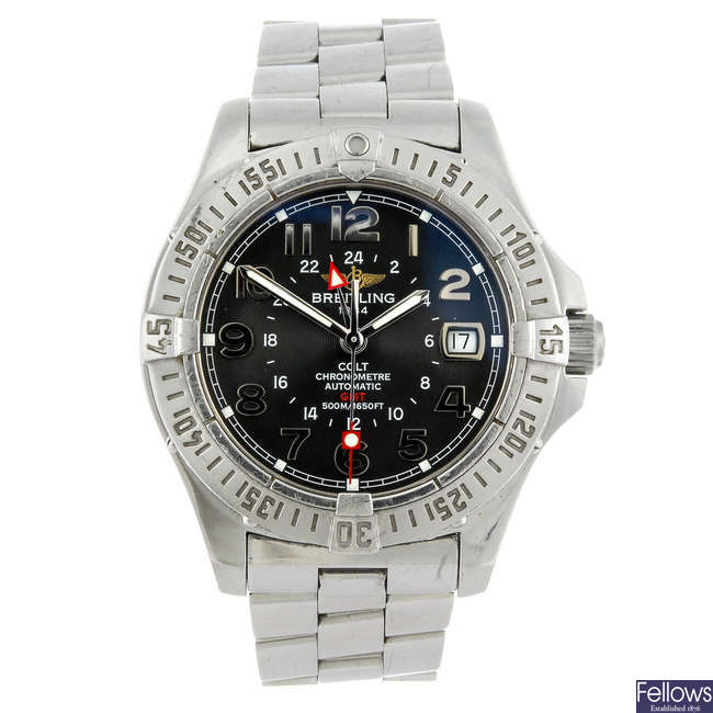 BREITLING - a gentleman's stainless steel Colt GMT bracelet watch.