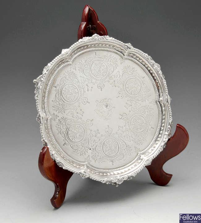 A small Victorian silver salver.