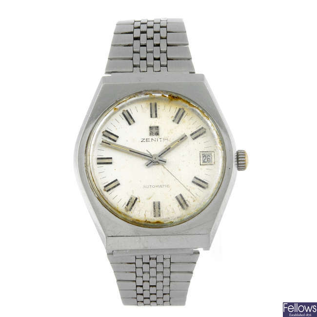 ZENITH - a gentleman's stainless steel bracelet watch.