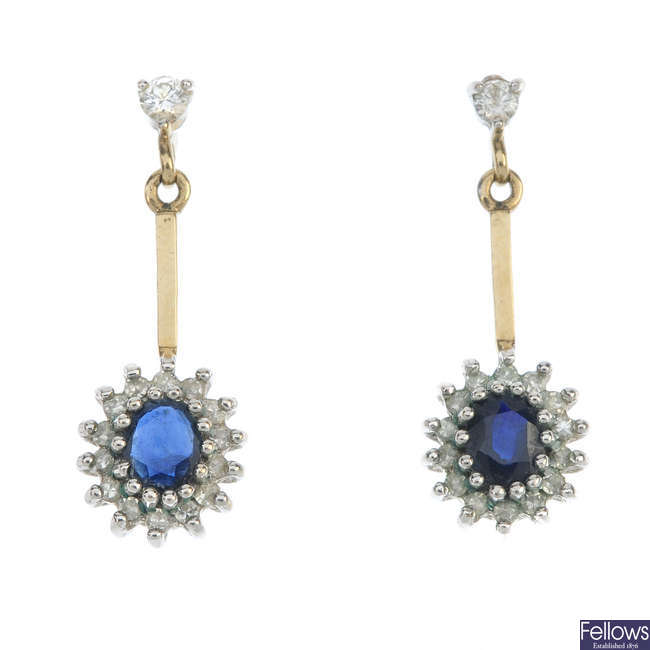 A pair of 9ct gold sapphire and diamond ear pendants.