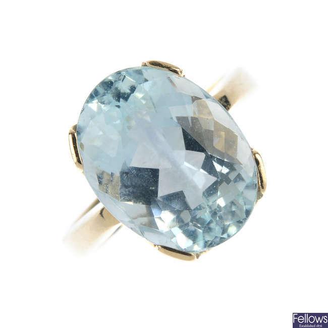An aquamarine single-stone ring.