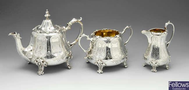 A Victorian Scottish silver three piece tea service.