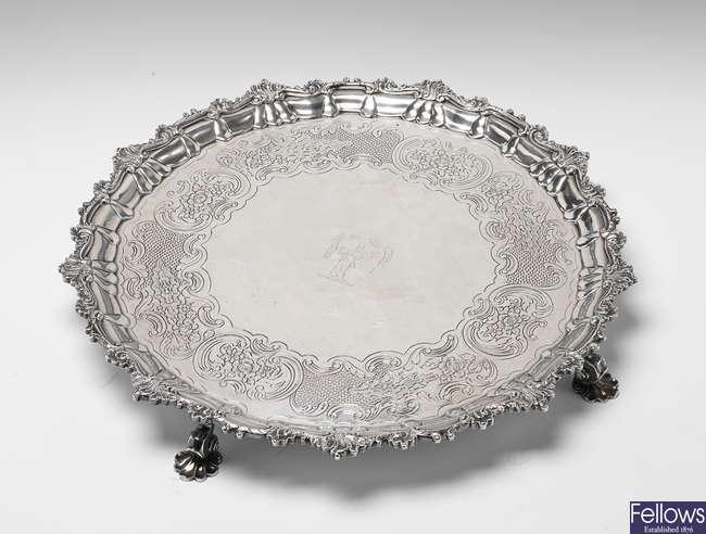 A late George III Irish silver salver.
