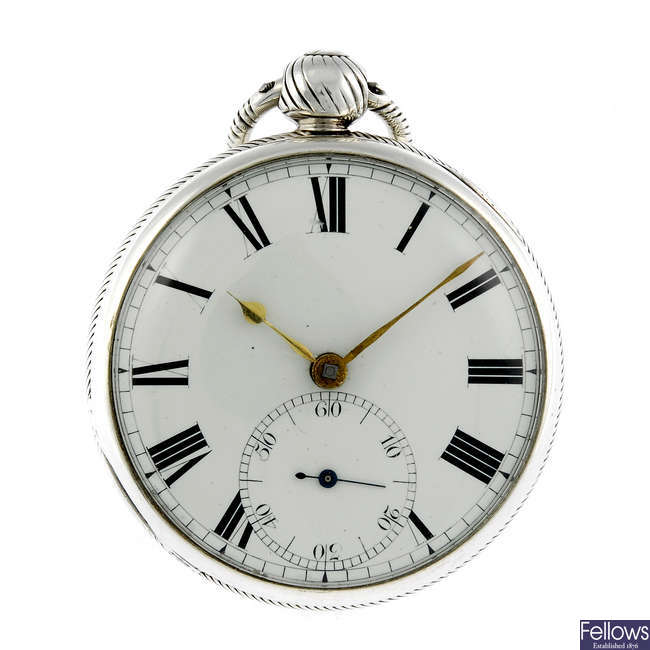 A silver open face pocket watch by E.Williams.