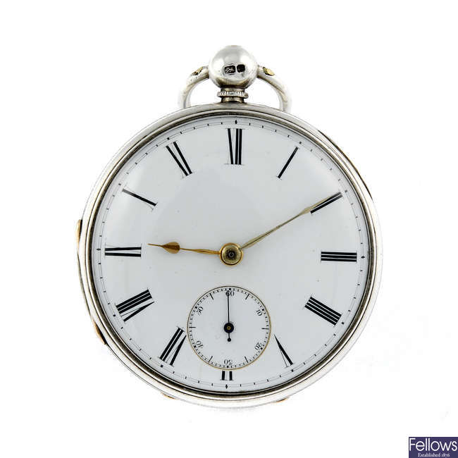 A silver open face pocket watch by V.Silvani.