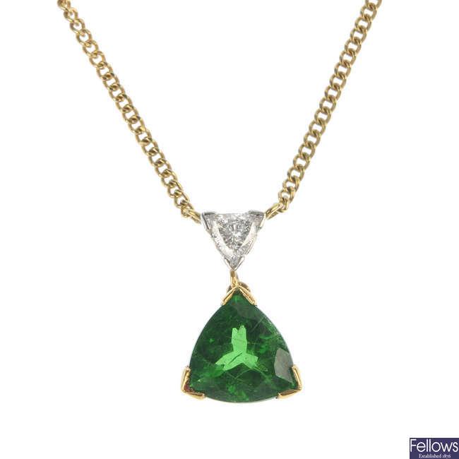 An 18ct gold tsavorite garnet and diamond pendant, with chain.