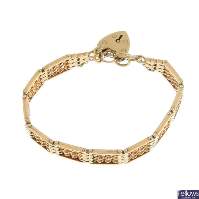 A 9ct gold fancy-link gate bracelet.