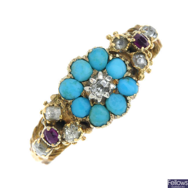 A mid 19th century 18ct gold diamond and gem-set ring.