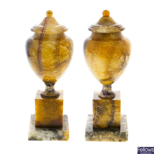 A pair of Blue John pedestal urns