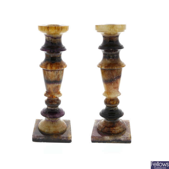 A pair of Blue John candlesticks