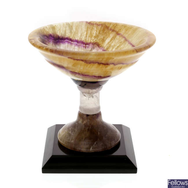 A Blue John pedestal dish or tazza
