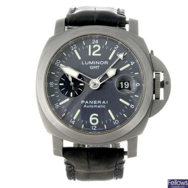 (1000607-1-A) PANERAI - a limited edition gentleman's titanium Luminor GMT wrist watch.