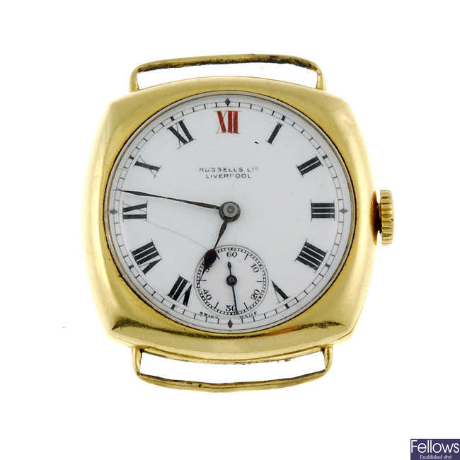 RUSSELLS LTD - an 18ct gold watch head.