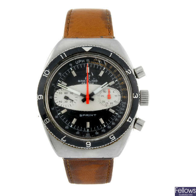 BREITLING - a gentleman's stainless steel Sprint chronograph wrist watch.
