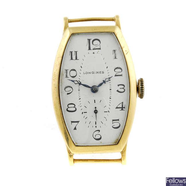LONGINES - a yellow metal watch head.