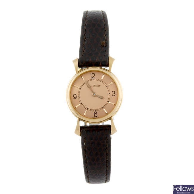 JAEGER-LECOULTRE - a lady's rose metal wrist watch.
