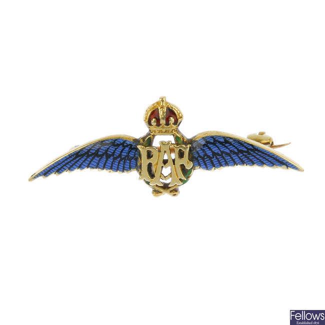 A mid 20th century enamel RAF brooch.