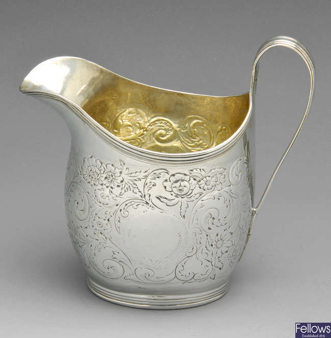 A late George III silver cream jug.