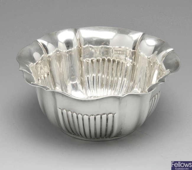 An Edwardian silver bowl.
