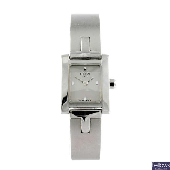 TISSOT - a lady's stainless steel bracelet watch.
