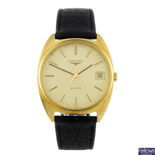 LONGINES - a gentleman's gold plated wrist watch with a lady's Longines bracelet watch.