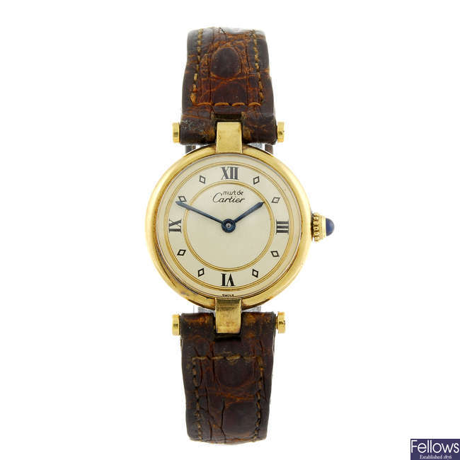 CARTIER - a gold plated silver Must De Cartier Vendome wrist watch.