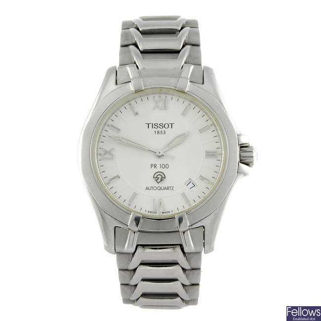 TISSOT - a gentleman's stainless steel PR100 bracelet watch.