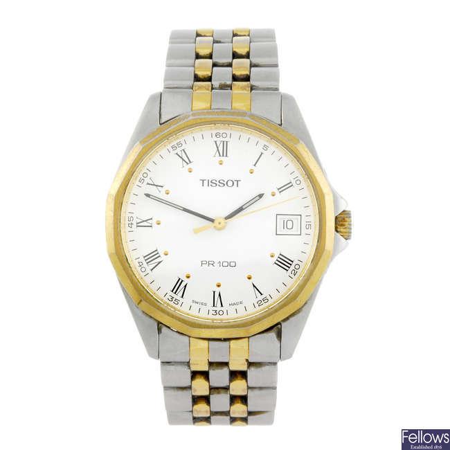 TISSOT - a gentleman's bi-metal PR100 bracelet watch.