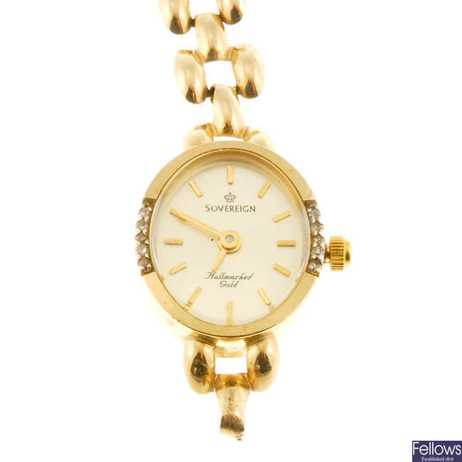 SOVEREIGN - a lady's 9ct gold bracelet watch.