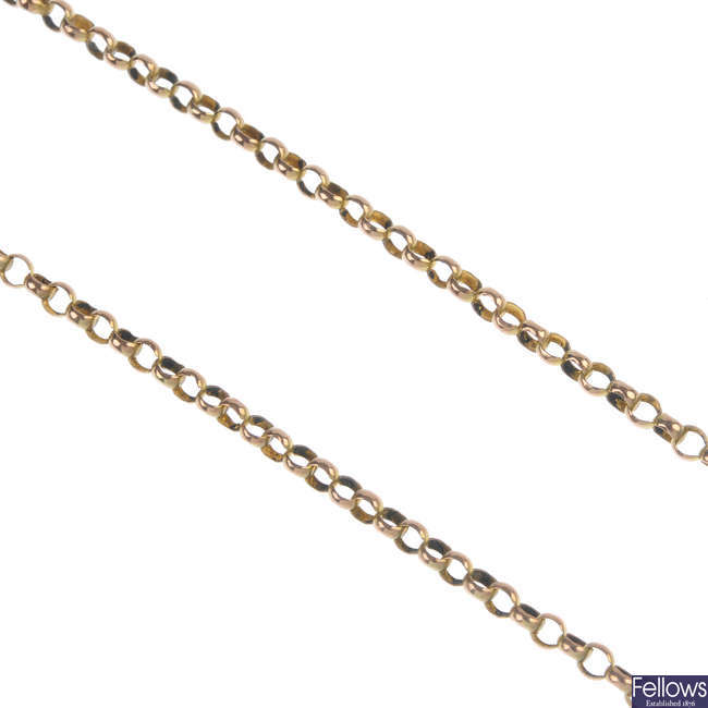 An early 20th century 9ct gold belcher-link chain.