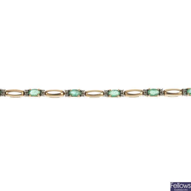 A 9ct gold emerald and diamond bracelet.