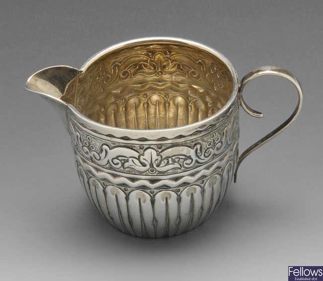 A small Victorian silver cream jug.