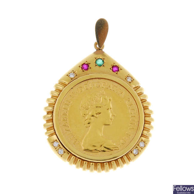 A diamond and gem-set mounted full sovereign pendant.