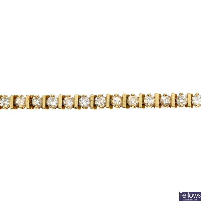 A diamond bracelet.
