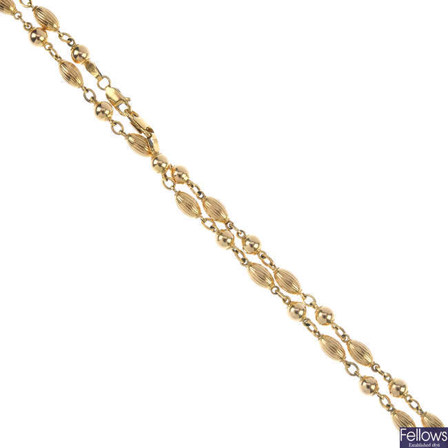 A 9ct gold fancy-link chain.