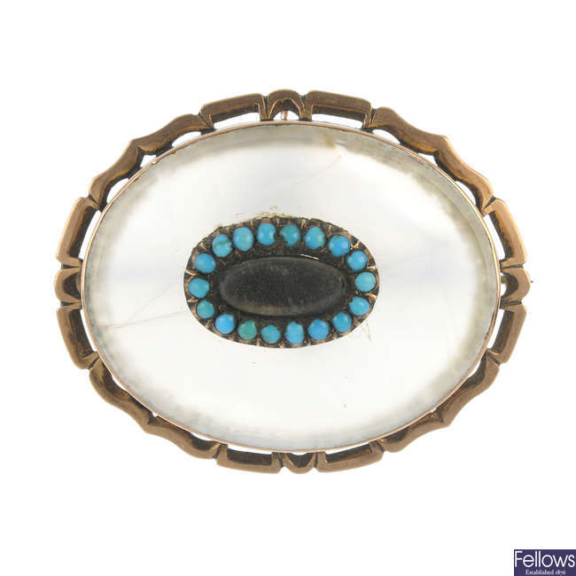 A turquoise and chalcedony sentimental brooch.